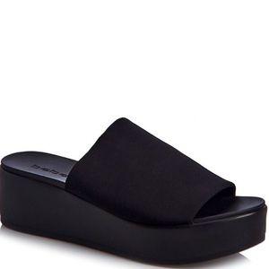 Bebe Platform Sandals stretchy wedge black